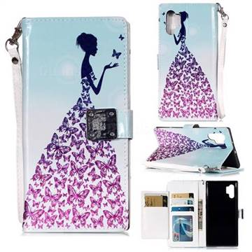 Butterfly Princess 3D Shiny Dazzle Smooth PU Leather Wallet Case for Samsung Galaxy Note 10+ (6.75 inch) / Note10 Plus
