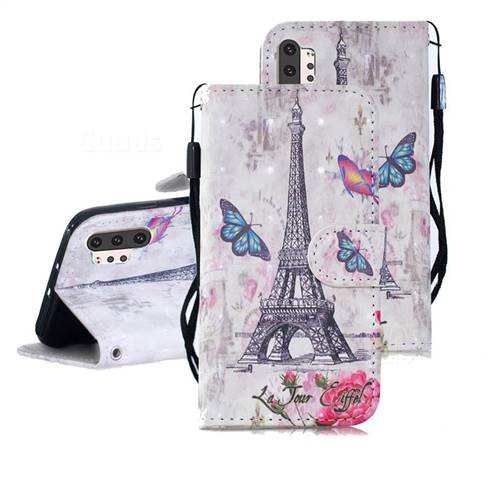Paris Tower 3D Painted Leather Wallet Phone Case for Samsung Galaxy Note 10+ (6.75 inch) / Note10 Plus