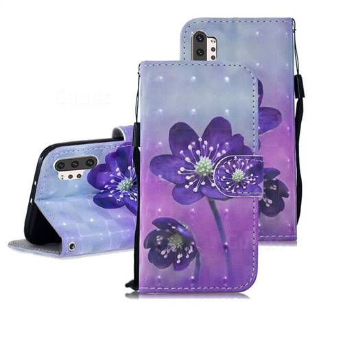 Purple Flower 3D Painted Leather Wallet Phone Case for Samsung Galaxy Note 10+ (6.75 inch) / Note10 Plus