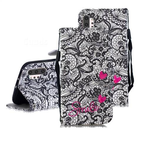 Lace Flower 3D Painted Leather Wallet Phone Case for Samsung Galaxy Note 10+ (6.75 inch) / Note10 Plus