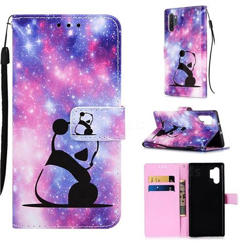 Panda Baby Matte Leather Wallet Phone Case for Samsung Galaxy Note 10+ (6.75 inch) / Note10 Plus