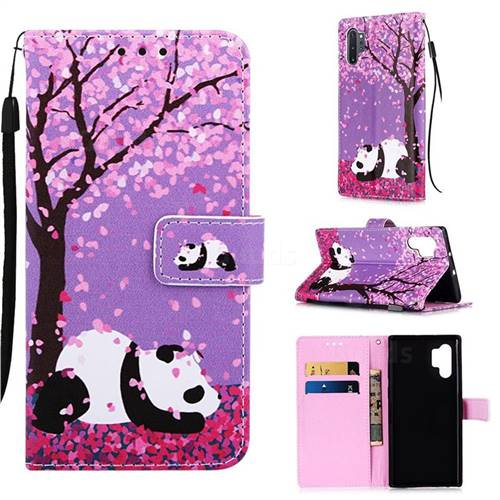 Cherry Blossom Panda Matte Leather Wallet Phone Case for Samsung Galaxy Note 10+ (6.75 inch) / Note10 Plus