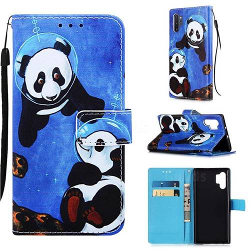 Undersea Panda Matte Leather Wallet Phone Case for Samsung Galaxy Note 10+ (6.75 inch) / Note10 Plus