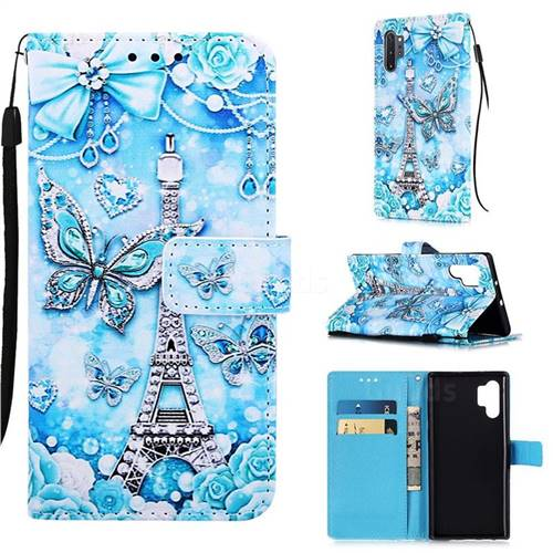 Tower Butterfly Matte Leather Wallet Phone Case for Samsung Galaxy Note 10+ (6.75 inch) / Note10 Plus
