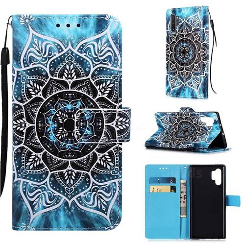 Underwater Mandala Matte Leather Wallet Phone Case for Samsung Galaxy Note 10+ (6.75 inch) / Note10 Plus