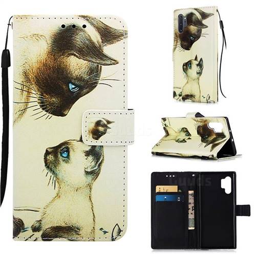 Cat Confrontation Matte Leather Wallet Phone Case for Samsung Galaxy Note 10+ (6.75 inch) / Note10 Plus