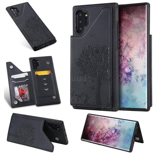Luxury Tree and Cat Multifunction Magnetic Card Slots Stand Leather Phone Back Cover for Samsung Galaxy Note 10+ (6.75 inch) / Note10 Plus - Black