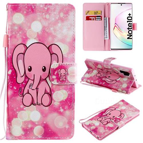Pink Elephant PU Leather Wallet Case for Samsung Galaxy Note 10+ (6.75 inch) / Note10 Plus
