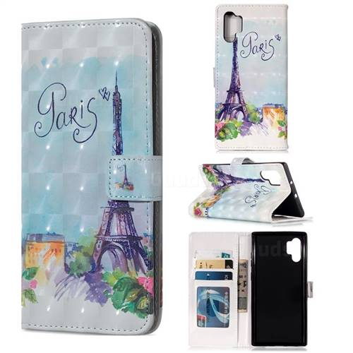 Paris Tower 3D Painted Leather Phone Wallet Case for Samsung Galaxy Note 10+ (6.75 inch) / Note10 Plus