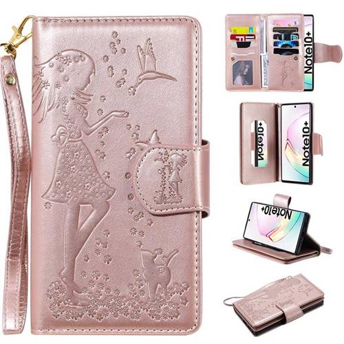 Embossing Cat Girl 9 Card Leather Wallet Case for Samsung Galaxy Note 10+ (6.75 inch) / Note10 Plus - Rose Gold