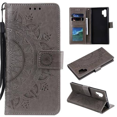 Intricate Embossing Datura Leather Wallet Case for Samsung Galaxy Note 10+ (6.75 inch) / Note10 Plus - Gray