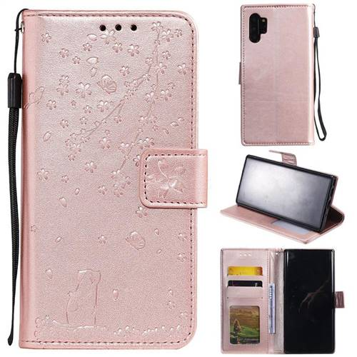 Embossing Cherry Blossom Cat Leather Wallet Case for Samsung Galaxy Note 10+ (6.75 inch) / Note10 Plus - Rose Gold