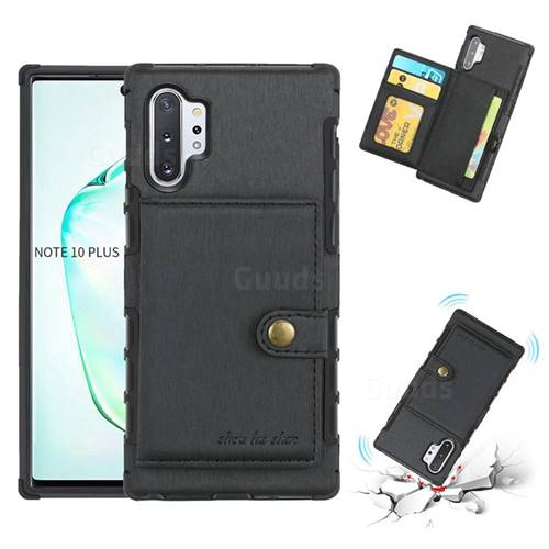 Brush Multi-function Leather Phone Case for Samsung Galaxy Note 10 Plus (6.75 inch) / Note 10+ - Black