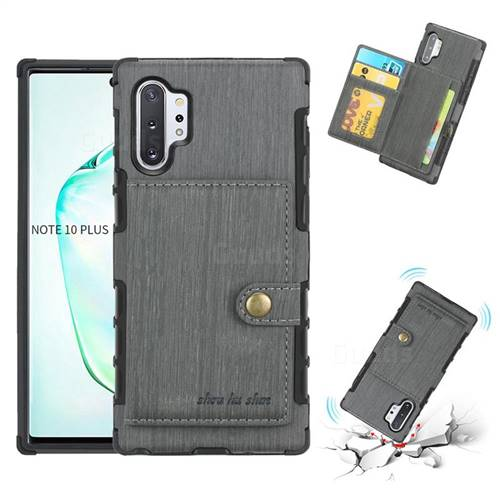 Brush Multi-function Leather Phone Case for Samsung Galaxy Note 10 Plus (6.75 inch) / Note 10+ - Gray