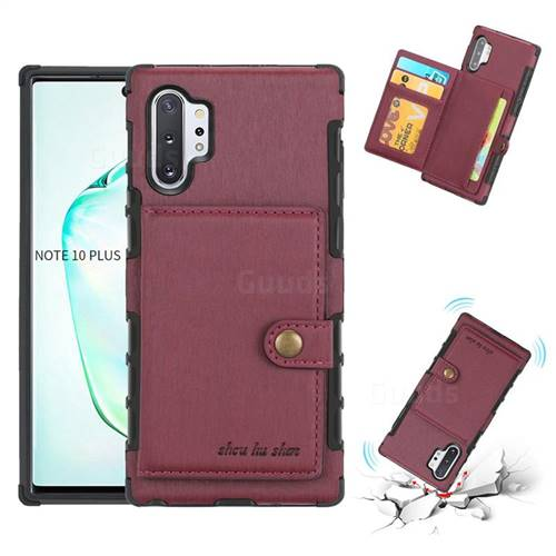 Brush Multi-function Leather Phone Case for Samsung Galaxy Note 10 Plus (6.75 inch) / Note 10+ - Wine Red