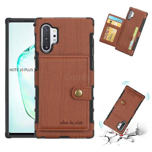 Brush Multi-function Leather Phone Case for Samsung Galaxy Note 10 Plus (6.75 inch) / Note 10+ - Brown
