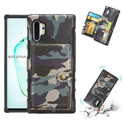 Camouflage Multi-function Leather Phone Case for Samsung Galaxy Note 10 Plus (6.75 inch) / Note 10+ - Army Green
