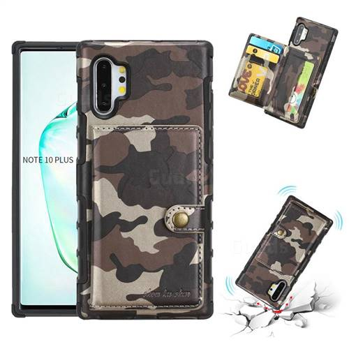 Camouflage Multi-function Leather Phone Case for Samsung Galaxy Note 10 Plus (6.75 inch) / Note 10+ - Coffee