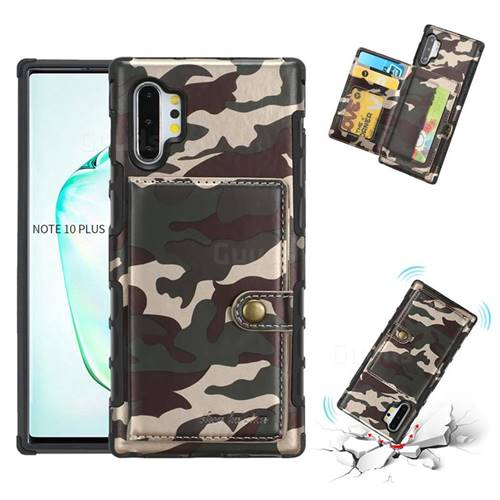Camouflage Multi-function Leather Phone Case for Samsung Galaxy Note 10 Plus (6.75 inch) / Note 10+ - Purple