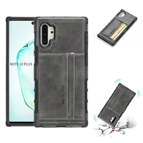 Luxury Shatter-resistant Leather Coated Card Phone Case for Samsung Galaxy Note 10 Plus (6.75 inch) / Note 10+ - Gray