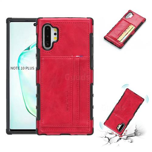 Luxury Shatter-resistant Leather Coated Card Phone Case for Samsung Galaxy Note 10 Plus (6.75 inch) / Note 10+ - Red