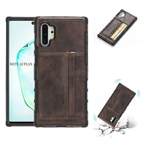 Luxury Shatter-resistant Leather Coated Card Phone Case for Samsung Galaxy Note 10 Plus (6.75 inch) / Note 10+ - Coffee
