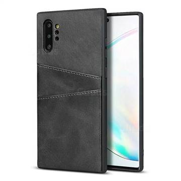 Simple Calf Card Slots Mobile Phone Back Cover for Samsung Galaxy Note 10 Plus (6.75 inch) / Note 10+ - Black