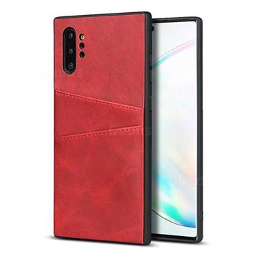 Simple Calf Card Slots Mobile Phone Back Cover for Samsung Galaxy Note 10 Plus (6.75 inch) / Note 10+ - Red