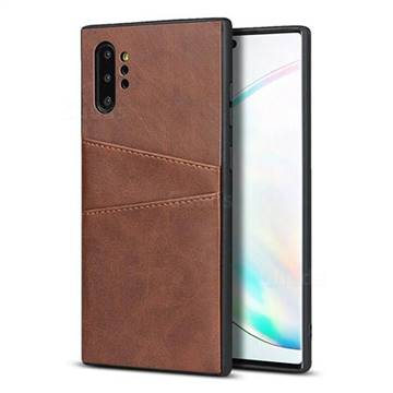 Simple Calf Card Slots Mobile Phone Back Cover for Samsung Galaxy Note 10 Plus (6.75 inch) / Note 10+ - Coffee