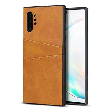 Simple Calf Card Slots Mobile Phone Back Cover for Samsung Galaxy Note 10 Pro (6.75 inch) / Note 10+ - Yellow