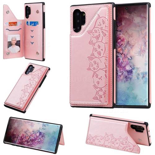 Yikatu Luxury Cute Cats Multifunction Magnetic Card Slots Stand Leather Back Cover for Samsung Galaxy Note 10 Plus (6.75 inch) / Note 10+ - Rose Gold
