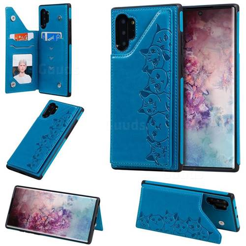 Yikatu Luxury Cute Cats Multifunction Magnetic Card Slots Stand Leather Back Cover for Samsung Galaxy Note 10 Pro (6.75 inch) / Note 10+ - Blue