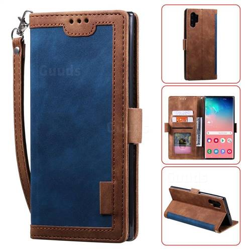 Luxury Retro Stitching Leather Wallet Phone Case for Samsung Galaxy Note 10 Pro (6.75 inch) / Note 10+ - Dark Blue