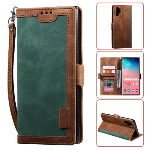 Luxury Retro Stitching Leather Wallet Phone Case for Samsung Galaxy Note 10 Pro (6.75 inch) / Note 10+ - Dark Green
