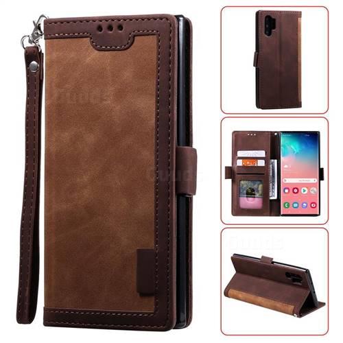 Luxury Retro Stitching Leather Wallet Phone Case for Samsung Galaxy Note 10 Pro (6.75 inch) / Note 10+ - Dark Brown