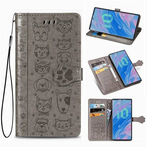 Embossing Dog Paw Kitten and Puppy Leather Wallet Case for Samsung Galaxy Note 10 Pro (6.75 inch) / Note 10+ - Gray