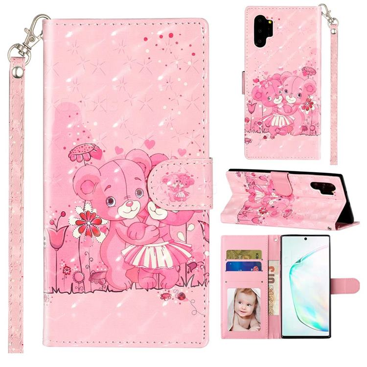 Pink Bear 3D Leather Phone Holster Wallet Case for Samsung Galaxy Note 10 Pro (6.75 inch) / Note 10+