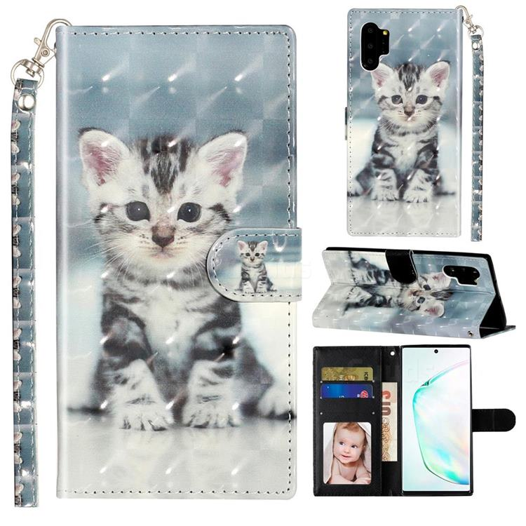 Kitten Cat 3D Leather Phone Holster Wallet Case for Samsung Galaxy Note 10 Pro (6.75 inch) / Note 10+