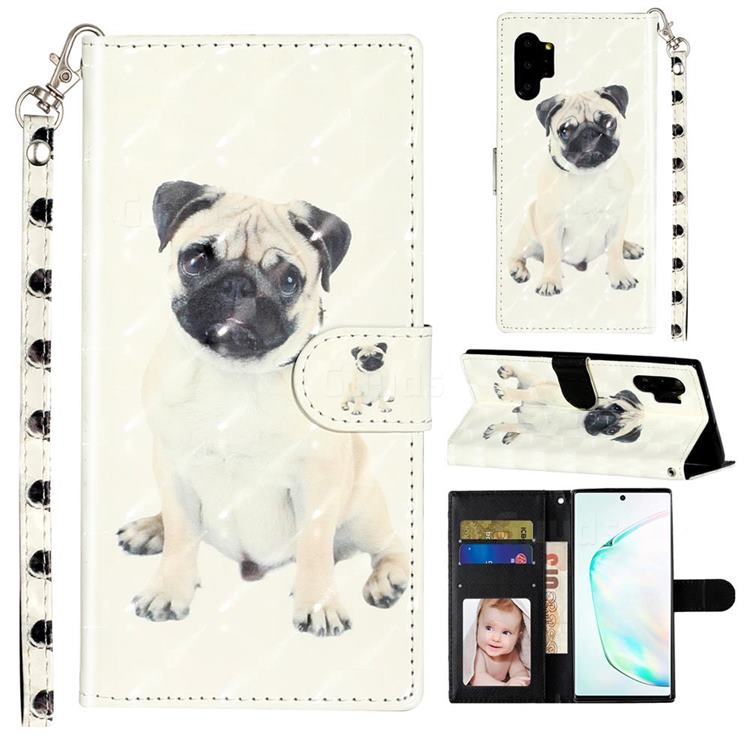 Pug Dog 3D Leather Phone Holster Wallet Case for Samsung Galaxy Note 10 Pro (6.75 inch) / Note 10+