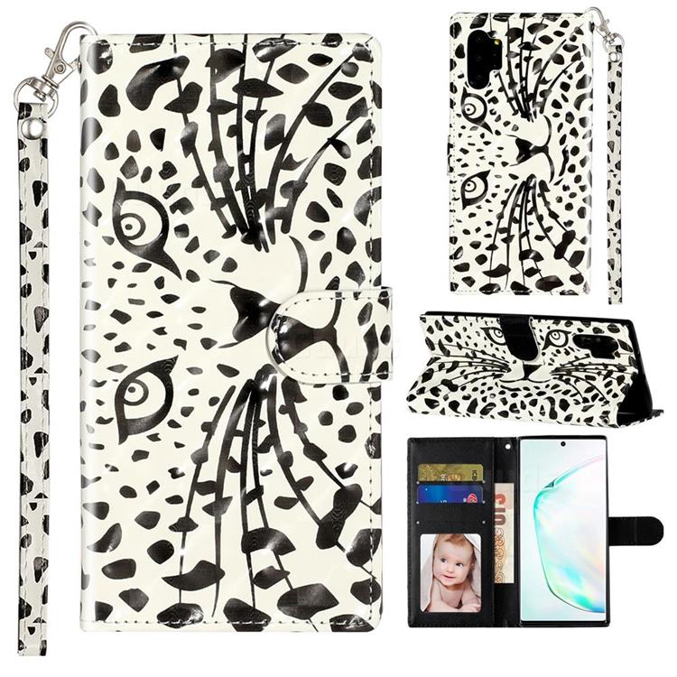 Leopard Panther 3D Leather Phone Holster Wallet Case for Samsung Galaxy Note 10 Pro (6.75 inch) / Note 10+