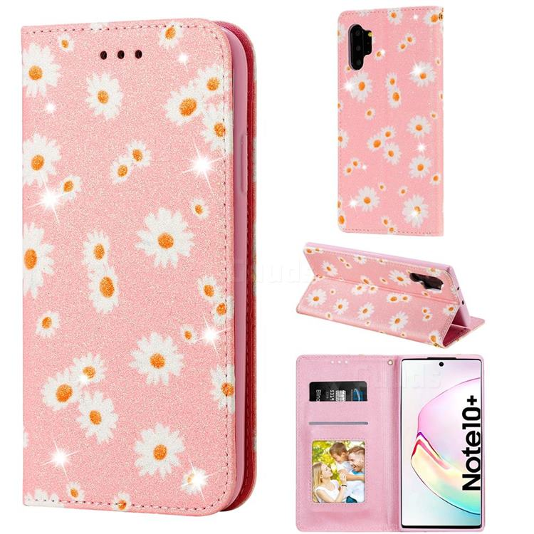 Ultra Slim Daisy Sparkle Glitter Powder Magnetic Leather Wallet Case for Samsung Galaxy Note 10 Pro (6.75 inch) / Note 10+ - Pink