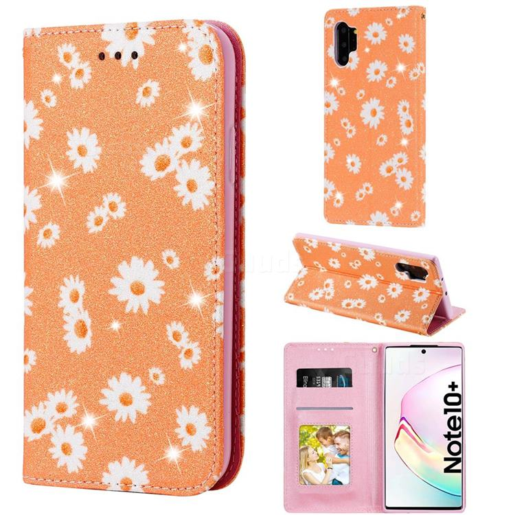 Ultra Slim Daisy Sparkle Glitter Powder Magnetic Leather Wallet Case for Samsung Galaxy Note 10 Pro (6.75 inch) / Note 10+ - Orange