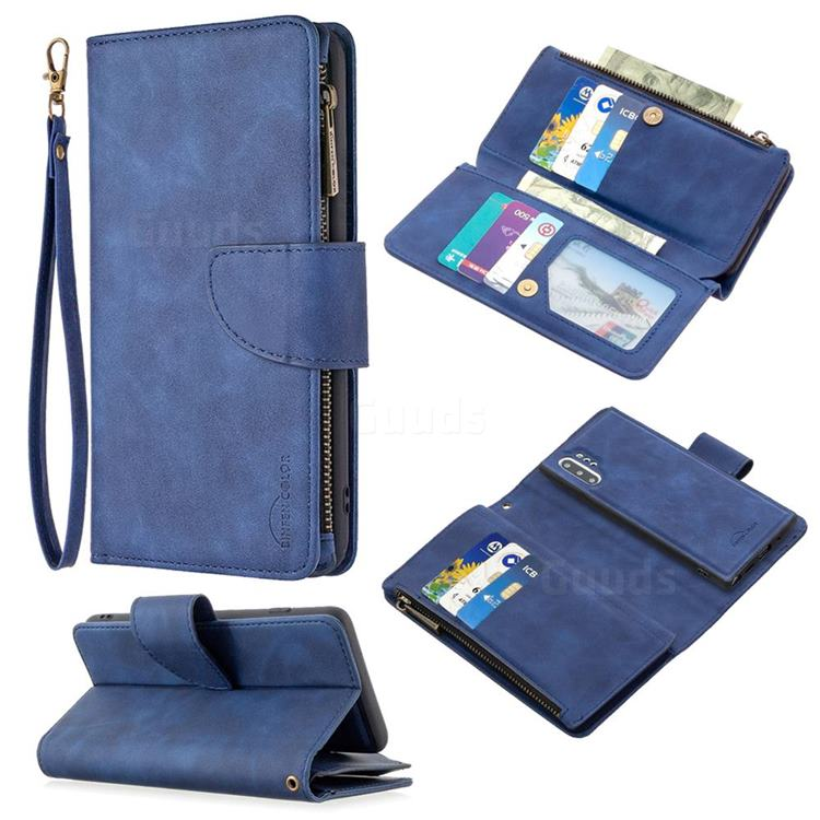 Binfen Color BF02 Sensory Buckle Zipper Multifunction Leather Phone Wallet for Samsung Galaxy Note 10 Pro (6.75 inch) / Note 10+ - Blue