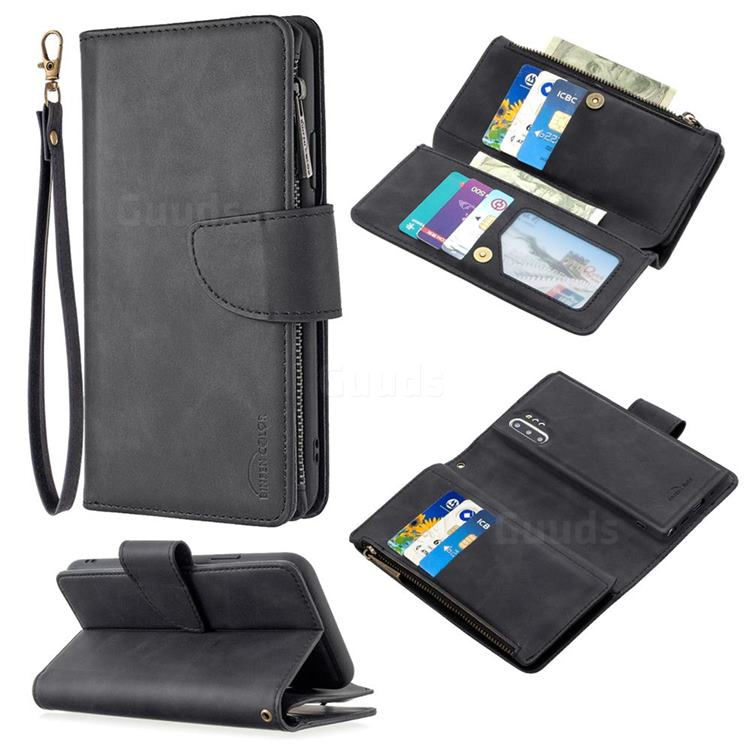 Binfen Color BF02 Sensory Buckle Zipper Multifunction Leather Phone Wallet for Samsung Galaxy Note 10 Pro (6.75 inch) / Note 10+ - Black