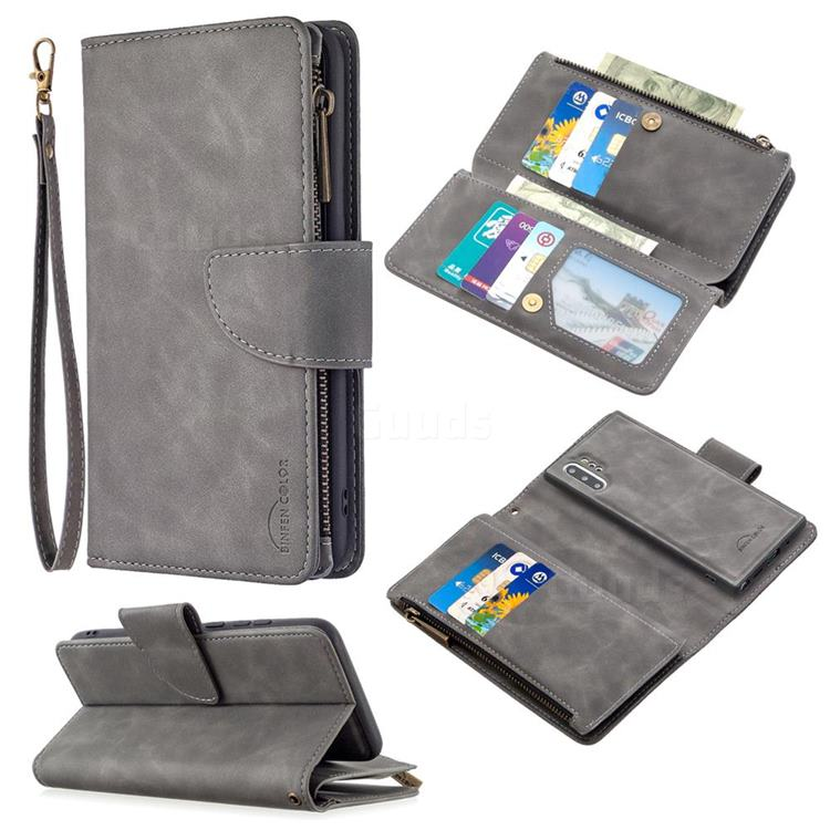 Binfen Color BF02 Sensory Buckle Zipper Multifunction Leather Phone Wallet for Samsung Galaxy Note 10 Pro (6.75 inch) / Note 10+ - Gray
