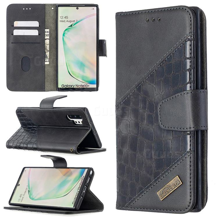 BinfenColor BF04 Color Block Stitching Crocodile Leather Case Cover for Samsung Galaxy Note 10 Pro (6.75 inch) / Note 10+ - Black