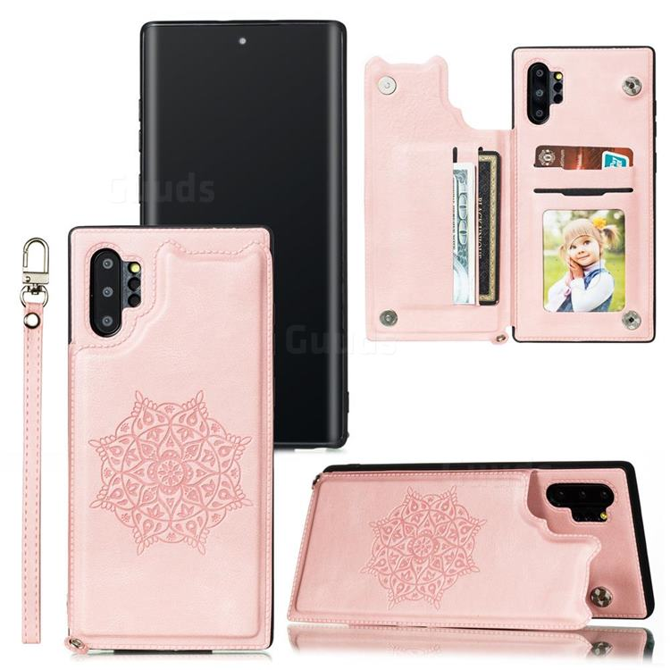 Luxury Mandala Multi-function Magnetic Card Slots Stand Leather Back Cover for Samsung Galaxy Note 10 Pro (6.75 inch) / Note 10+ - Rose Gold