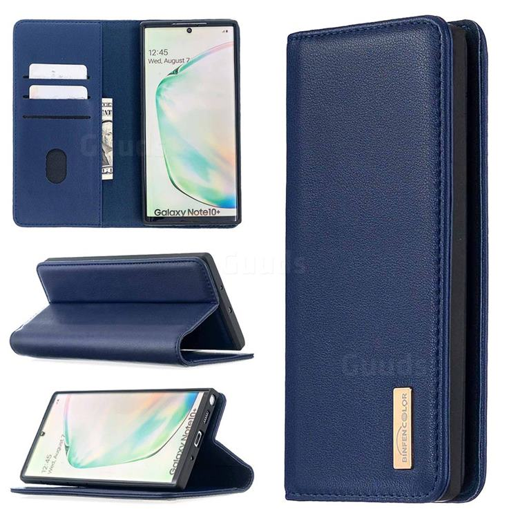 Binfen Color BF06 Luxury Classic Genuine Leather Detachable Magnet Holster Cover for Samsung Galaxy Note 10 Pro (6.75 inch) / Note 10+ - Blue