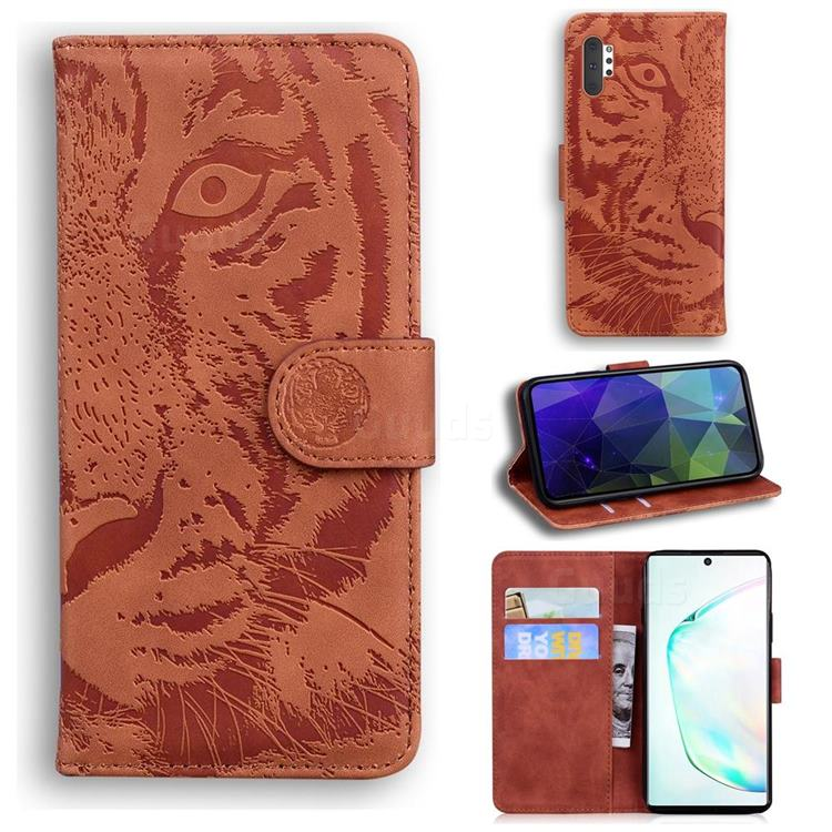 Intricate Embossing Tiger Face Leather Wallet Case for Samsung Galaxy Note 10 Pro (6.75 inch) / Note 10+ - Brown