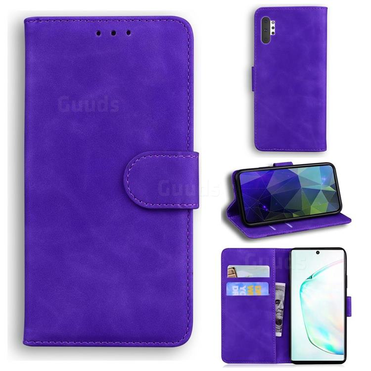 Retro Classic Skin Feel Leather Wallet Phone Case for Samsung Galaxy Note 10 Pro (6.75 inch) / Note 10+ - Purple